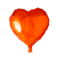 Folieballon  - hjerteformet 45 cm - orange